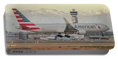 American Airline Boeing B767 Landing At Milano Malpensa Airport Portable Battery Charger