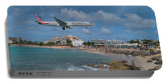 American Airlines Landing At St. Maarten Airport Portable Battery Charger