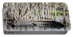 Portable Battery Charger featuring the photograph American Alligator by Gary Wightman