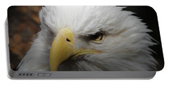 Portable Battery Charger featuring the digital art American Bald Eagle Portrait 3 by Ernie Echols