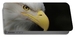 Portable Battery Charger featuring the digital art American Bald Eagle Portrait 4 by Ernie Echols