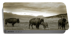 American Bison Calf And Cow Portable Battery Charger by Chris Bordeleau