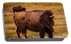 Portable Battery Charger featuring the photograph American Bison by Chris Bordeleau