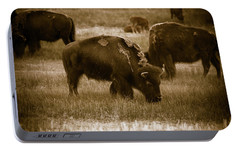 Portable Battery Charger featuring the photograph American Bison Grazing - Bw by Chris Bordeleau