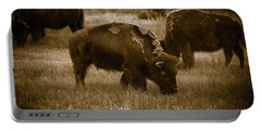 American Bison Grazing - Bw Portable Battery Charger by Chris Bordeleau