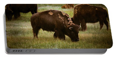 American Bison Grazing Portable Battery Charger by Chris Bordeleau