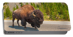 Portable Battery Charger featuring the photograph American Bison Sharing The Road In Yellowstone by John M Bailey