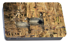 Portable Battery Charger featuring the photograph American Coots by Jerry Battle