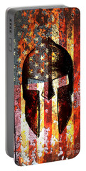 American Flag And Spartan Helmet On Rusted Metal Door - Molon Labe Portable Battery Charger