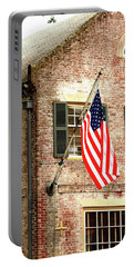 American Flag In Colonial Williamsburg Portable Battery Charger