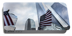 American Flag In Front Of The One World World Trade Center Portable Battery Charger