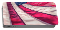 Portable Battery Charger featuring the photograph American Flag In Red White Stripe,stars And Blue Symbolic Of Pat by Jingjits Photography