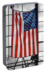 Portable Battery Charger featuring the photograph American Flag In The Window by Mike McGlothlen