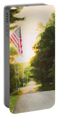 American Flag On A Country Road Portable Battery Charger