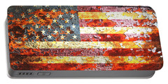 American Flag On Rusted Riveted Metal Door Portable Battery Charger