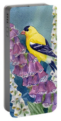 American Goldfinch And Foxgloves Portable Battery Charger by Janet Zeh