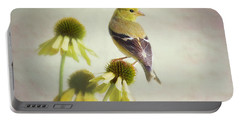 American Goldfinch On Coneflower Portable Battery Charger