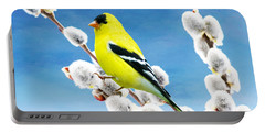 American Goldfinch Perched On Pussy Willow Portable Battery Charger