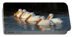 American Pelicans - 01 Portable Battery Charger by Rob Graham