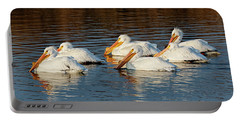 American Pelicans - 02 Portable Battery Charger by Rob Graham