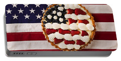 American Pie On American Flag  Portable Battery Charger