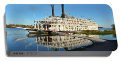 American Queen Steamboat Reflections On The Mississippi River Portable Battery Charger