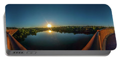 American River At Sunrise - Panorama Portable Battery Charger
