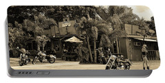 Portable Battery Charger featuring the photograph American Roadhouse Sepia by Laura Fasulo