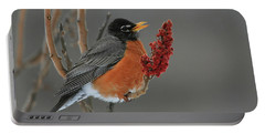 American Robin On Sumac Portable Battery Charger
