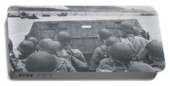 American Troops In Landing Craft Head For Omaha Beach, 6th June 1944 Portable Battery Charger