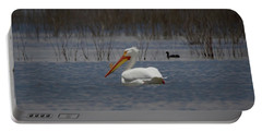 American White Pelican Searching Da Portable Battery Charger by Ernie Echols