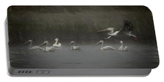 American White Pelicans Da Portable Battery Charger by Ernie Echols