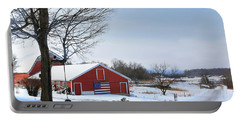 Americana Barn In Vermont Portable Battery Charger by Sharon Batdorf