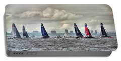 America's Cup Contestants In New York Harbor, May 2016 Portable Battery Charger by Sandy Taylor