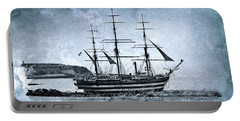 Amerigo Vespucci Sailboat In Blue Portable Battery Charger by Pedro Cardona