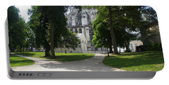 Portable Battery Charger featuring the photograph Amiens Cathedral - Park View by Therese Alcorn