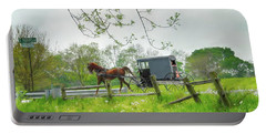 Amish Buggy Along Ronks Road Portable Battery Charger
