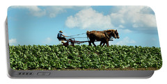 Amish Farmer With Horses In Tobacco Field Portable Battery Charger