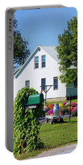 Portable Battery Charger featuring the photograph Amish House With Mums by Cricket Hackmann