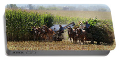 Amish Men Harvesting Corn Portable Battery Charger