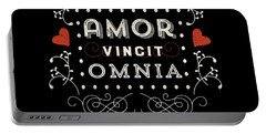 Amor Vincit Omnia Chalkboard Style Portable Battery Charger