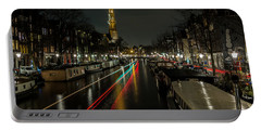 Amsterdam Canal With Boat And Bike Trails Portable Battery Charger
