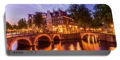 Portable Battery Charger featuring the photograph Amsterdam Idyllic Nightscape From Keizersgracht And Leidsegracht  by Melanie Viola