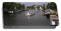 Amsterdam Water Scene Portable Battery Charger by Sally Weigand