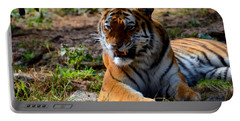 Portable Battery Charger featuring the mixed media Amur Tiger 5 by Angelina Vick