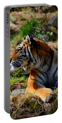 Portable Battery Charger featuring the mixed media Amur Tiger 9 by Angelina Vick