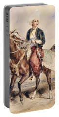 An Arab Warrior On Horseback In A Landscape Portable Battery Charger