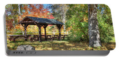 Portable Battery Charger featuring the photograph An Autumn Picnic In Maine by Shelley Neff