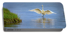 An Egret Spreads Its Wings Portable Battery Charger by Rick Berk