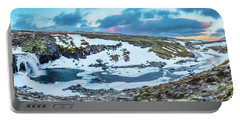 An Icy Waterfall Panorama During Sunrise In Iceland Portable Battery Charger